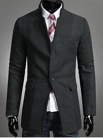Single Button Stand Collar Wool Coat - Deep Gray - M