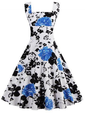 Sale Square Neck Floral Print Sleeveless Pin Up Dress WHITE 5XL