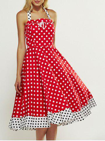 Cheap Retro Style Polka Dot Lace-Up Splicing Dress