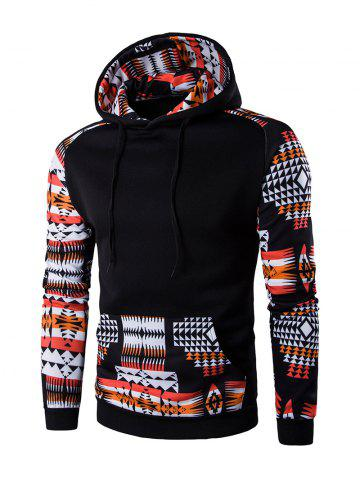 Affordable Patchwork Design Geometric Print Hoodie - BLACK L Mobile