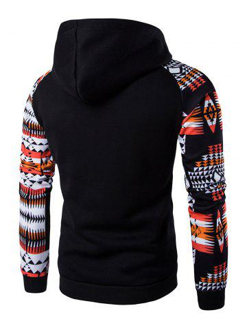 Fancy Patchwork Design Geometric Print Hoodie - BLACK L Mobile