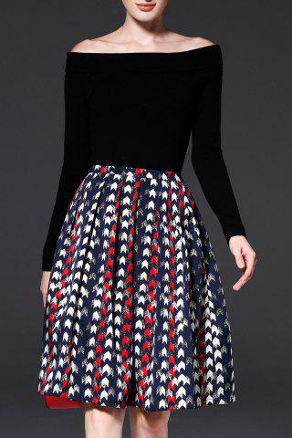 Latest A Line Jacquard Pleated Skirt COLORMIX M