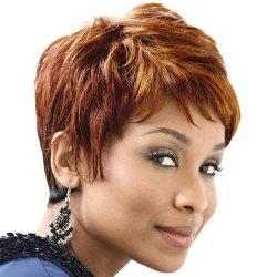 Virile Short Capless Side Bang Straight Human Hair Wig
