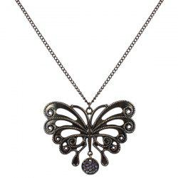 Rhinestone Hollow Out Butterfly Sweater Chain -