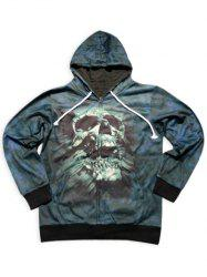 Trendy Slimming Hooded 3D Skull Pattern Long Sleeve Cotton Blend Hoodie For Men - BLACKISH GREEN