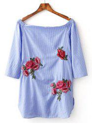Floral Embroidery Striped Blouse -
