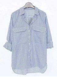 Striped Pocket Design Boyfriend Shirt - BLUE L