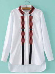 High-Low Broderie Slit Shirt - Blanc L