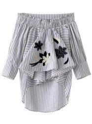 Asymmetrical Ruffled Striped Embroidery Blouse -