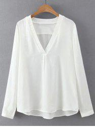 Light V Neck Long Sleeves Blouse -