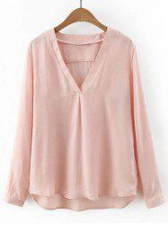 Light V Neck Long Sleeves Blouse