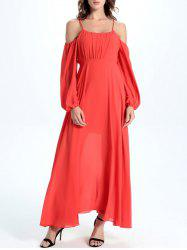 Cold Shoulder Open Back Flowing Dress