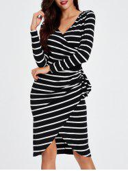 Asymmetric Striped Wrapped Bodycon Dress