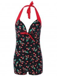 Halter Cherry Print Tied-Up Swimwear -