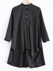 Loose-Fitting Asymmetric Buttoned Blouse - BLACK XL