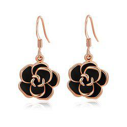 Pair of Alloy Rose Shape Drop Earrings