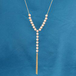 Faux Pearl Beaded Pendant Sweater Chain -