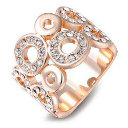 Rhinestone Round Wedding Jewelry Ring - GOLDEN