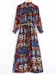 Ruffled Collar Floral Print Maxi Dress -