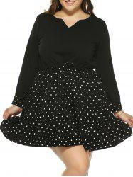 Plus Size Polka Dot Drawstring Dress - BLACK 5XL