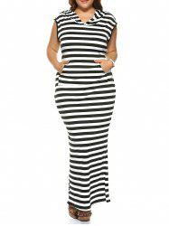 Plus Size Striped Hooded Sleeveless Dress -
