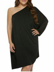 Plus Size One Shoulder Shift Dress