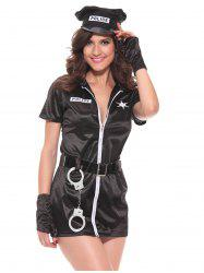 Chic Zipper Design Women's Police Cosplay Costume