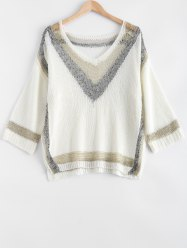 Fashionable Loose-Fitting Hit Color Women's Knitwear -