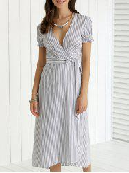 Plunging Neck Ruffled Striped Faux Wrap Dress