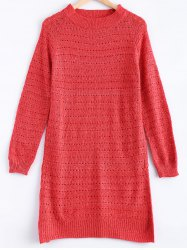 Solid Color Loose-Fitting Knitted Dress - WATERMELON RED