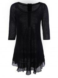 Chic Women's Buttoned Chiffon Spliced Asymmetric Dress - BLACK XL