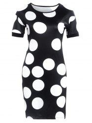 Short Sleeve Polka Dot Print Slimming Dress - BLACK