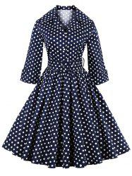 Retro Polka Dot Print 3/4 Sleeve Flare Dress With Belt
