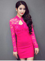 Front Cut Out Mandarin Collar Long Sleeve Lace Dress - ROSE RED L