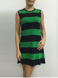 Button A Line Striped Sleeveless Jumper Dress - GREEN