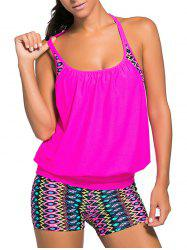 Racerback Blouson Tankini Swimsuit With Boxers -