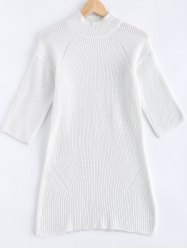 3/4 Sleeves Loose Pure Color Sweater Dress -