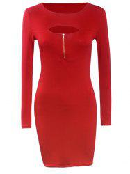 Long Sleeve Front Cutout Zipper Bodycon Dress - RED