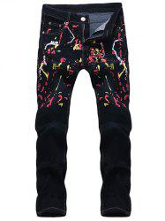 Zipper Fly Colorful Paint Splatter Print Jeans