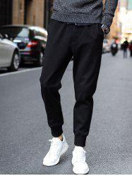 Drawstring Waist Pockets Design Jogger Pants - BLACK