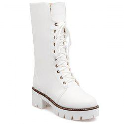 Talon Chunky et Bottes Lace-Up Design mi-mollet - Blanc
