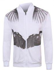 Zip Up 3D Wing Print Long Sleeve Jacket
