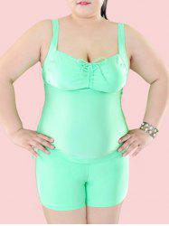 Plus Size Tie Front Underwire Padded Slimming Tankini