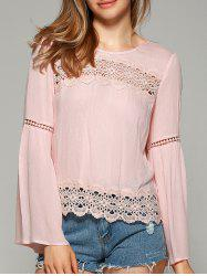 Sweet Bell Sleeve Hollow Out Blouse - SHALLOW PINK M
