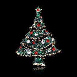 Elegant Cut Out Rhinestone Enamel Multicolored Christmas Tree Brooch - BLACKISH GREEN