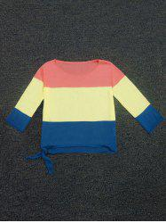 Color Block Lace-Up Sweater -