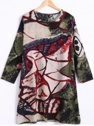 Plus Size Long Sleeve Colorful Print Dress