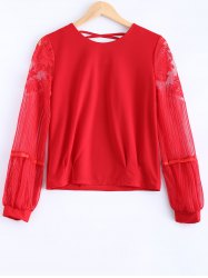 Plus Size Lace Spliced Puff Sleeves Blouse -