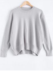Solid Color Loose-Fitting Pullover Sweater -