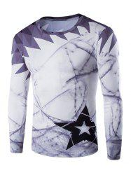 Round Neck Long Sleeve Printed T-Shirt - PURPLE